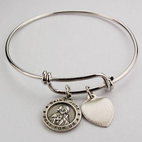 McVan Faith Bangle Bracelet with St. Jude Pendant and Heart Charm