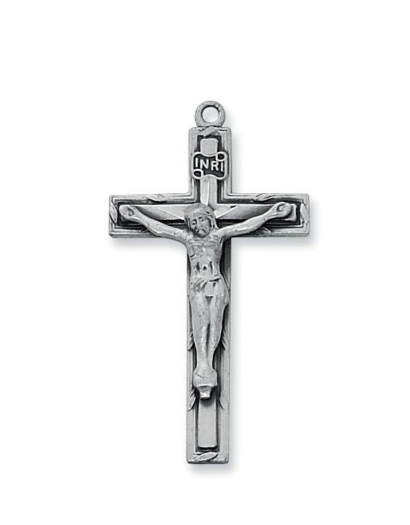 """McVan Antiqued Silver Finish Crucifix Pendant with Straight Edge and 18"""" Chain"""