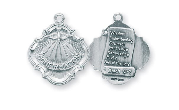 HMH Religious Sterling Silver Holy Spirit Confirmation Medal with the 7 Gifts Of The Holy Spirit on the Back