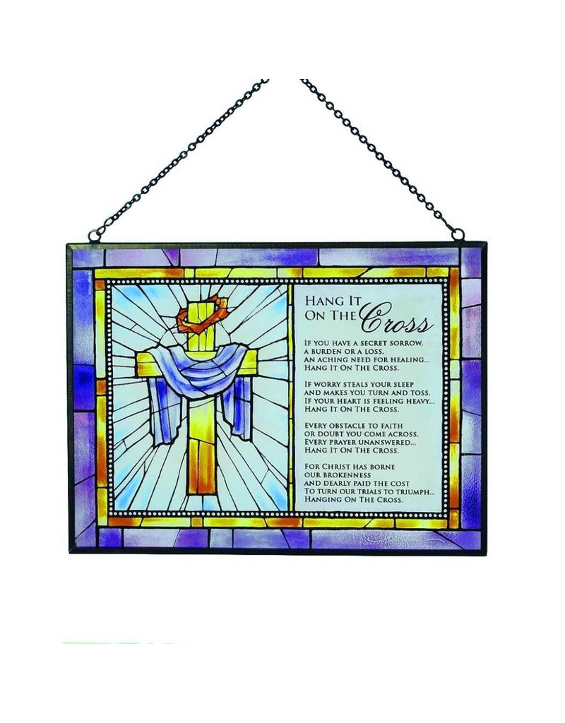 Cathedral Art Hang It On The Cross Prayer Poem Soldered Glass Plaque
