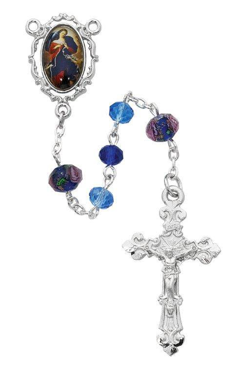 McVan 6mm Our Lady Undoer of Knots Floral Rhodium Finish Rosary with 8mm Our Father Beads