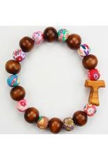 McVan Brown Wood and Colored Bead Bracelet