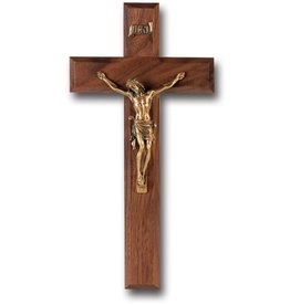 "WJ Hirten 10"" Walnut Cross with Museum Gold Corpus"