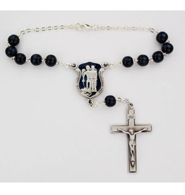 McVan St. Michael Blue Enameled Police Badge Auto Rosary