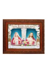 """WJ Hirten 8"""" x 10"""" Framed House Blessing with the Sacred Heart of Jesus and the Immaculate Heart of Mary"""