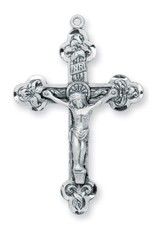 HMH Religious Sterling Silver Relief Leaf Crucifix