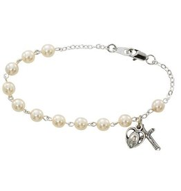 """McVan 7 1/2"""" Glass Pearl Bead Bracelet with Oxidized Silver Crucifix and Miraculous Medal"""