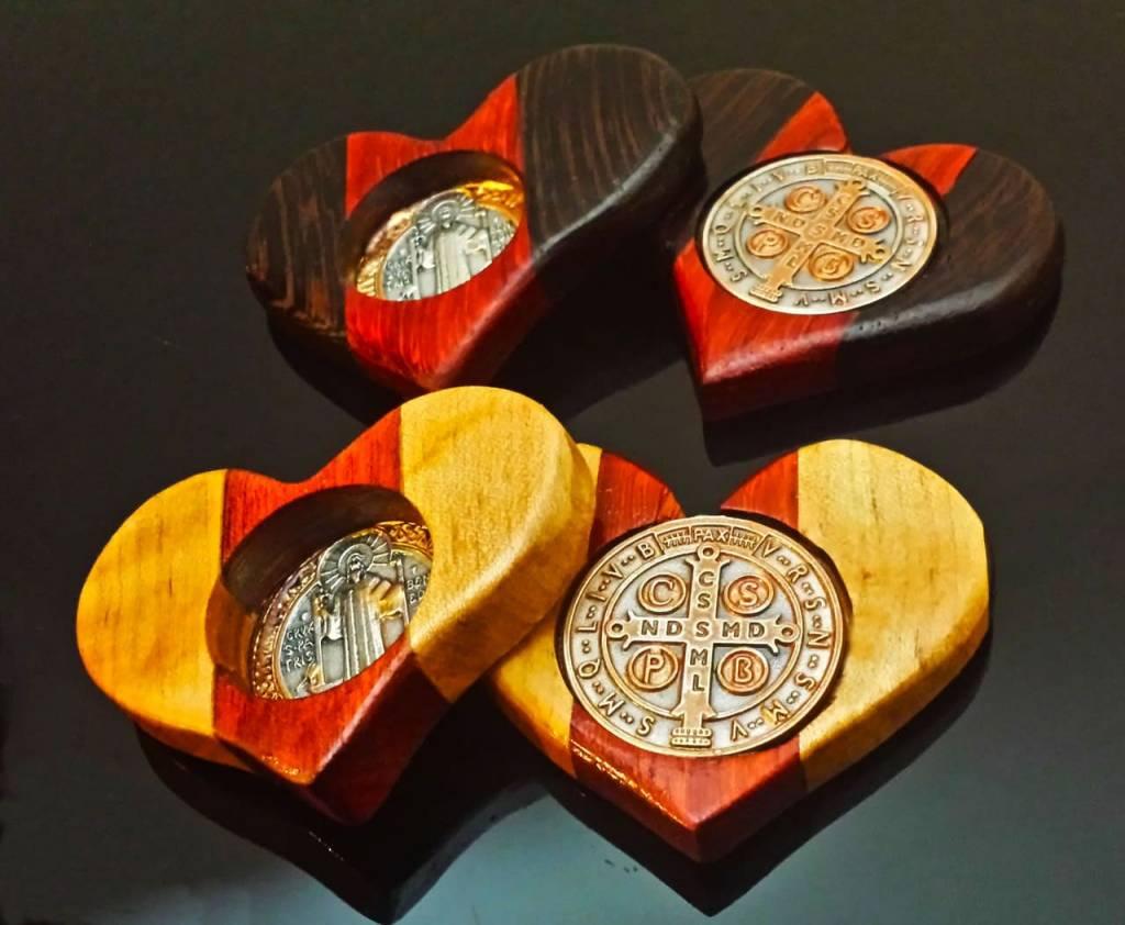 Cross of St. Benedict St. Benedict Wooden Heart Assorted Colors