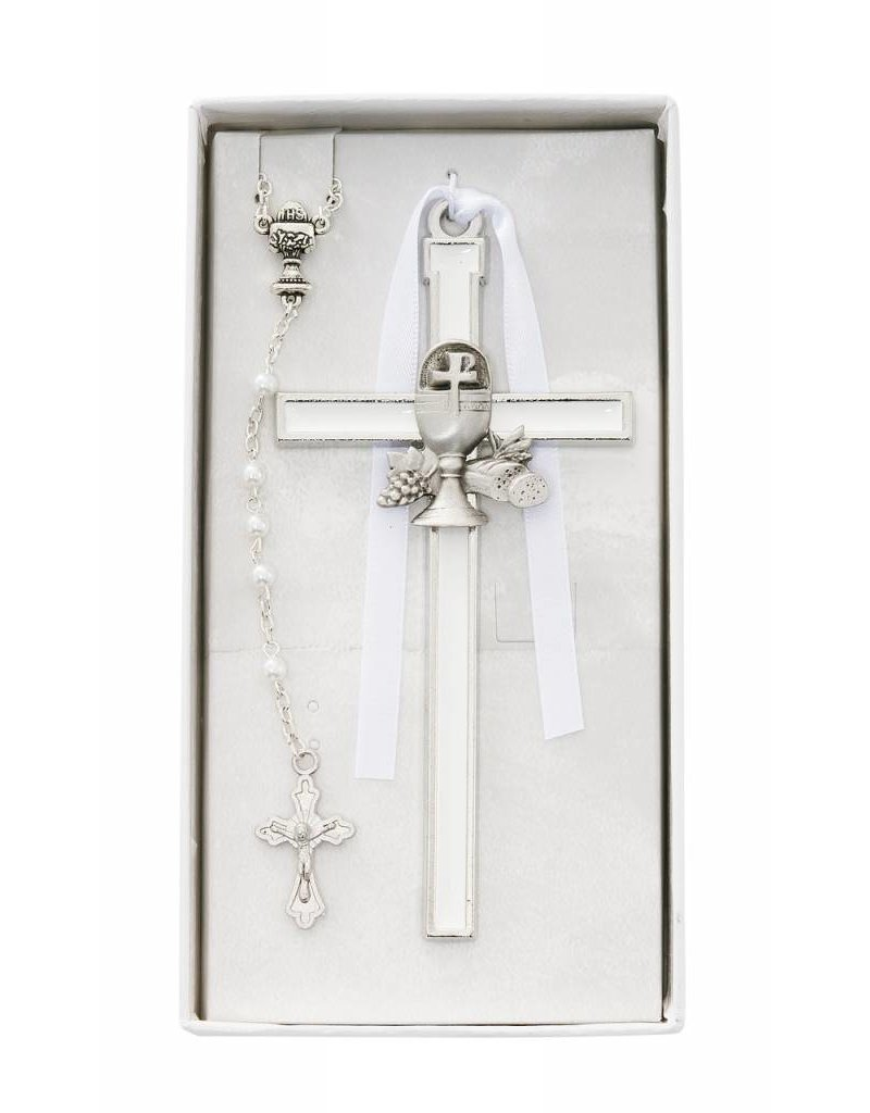 McVan White Enameled Chalice Cross with Rosary Set