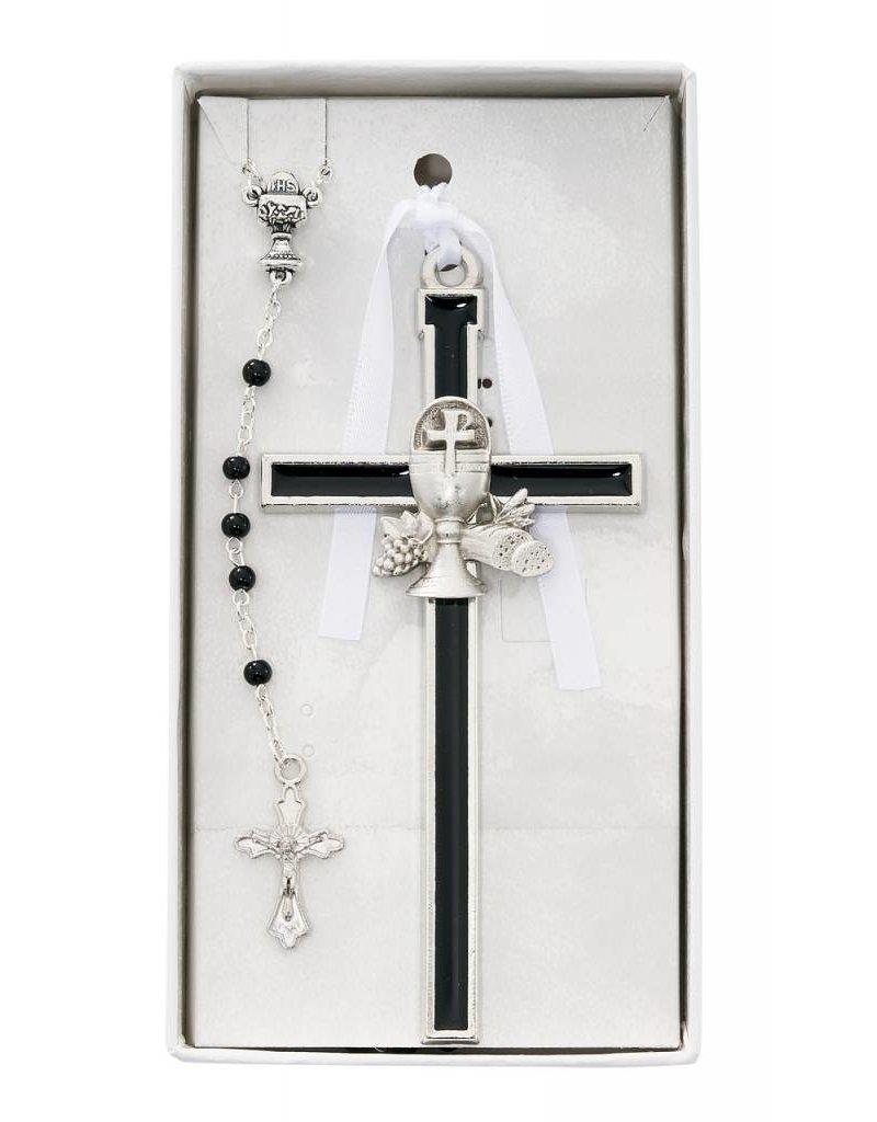 McVan Black Enameled Chalice Cross and Rosary Set