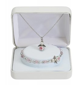 "McVan 16"" Angel Pendant Necklace and Crystal Bracelet Set"