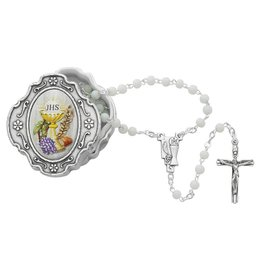 McVan White Communion Rosary with Chalice Box