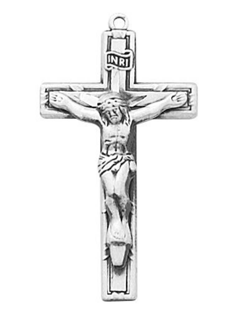 """McVan Antique Pewter Crucifix with 18"""" Rhodium Plated Chain"""