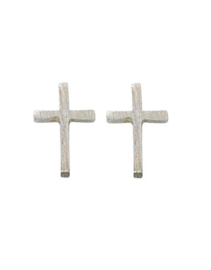McVan Silver Plated Cross Post Earrings