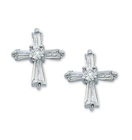 McVan Crystal Cubic Zirconia Cross Post Earrings (Surgical Stainless Steel Posts)