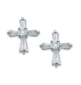 McVan Cubic Zirconia Cross Post Earrings (Surgical Stainless Steel Posts)