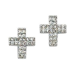 McVan Silver and Crystal Cross Earrings