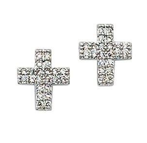 McVan Silver and Crystal Cross Earrings
