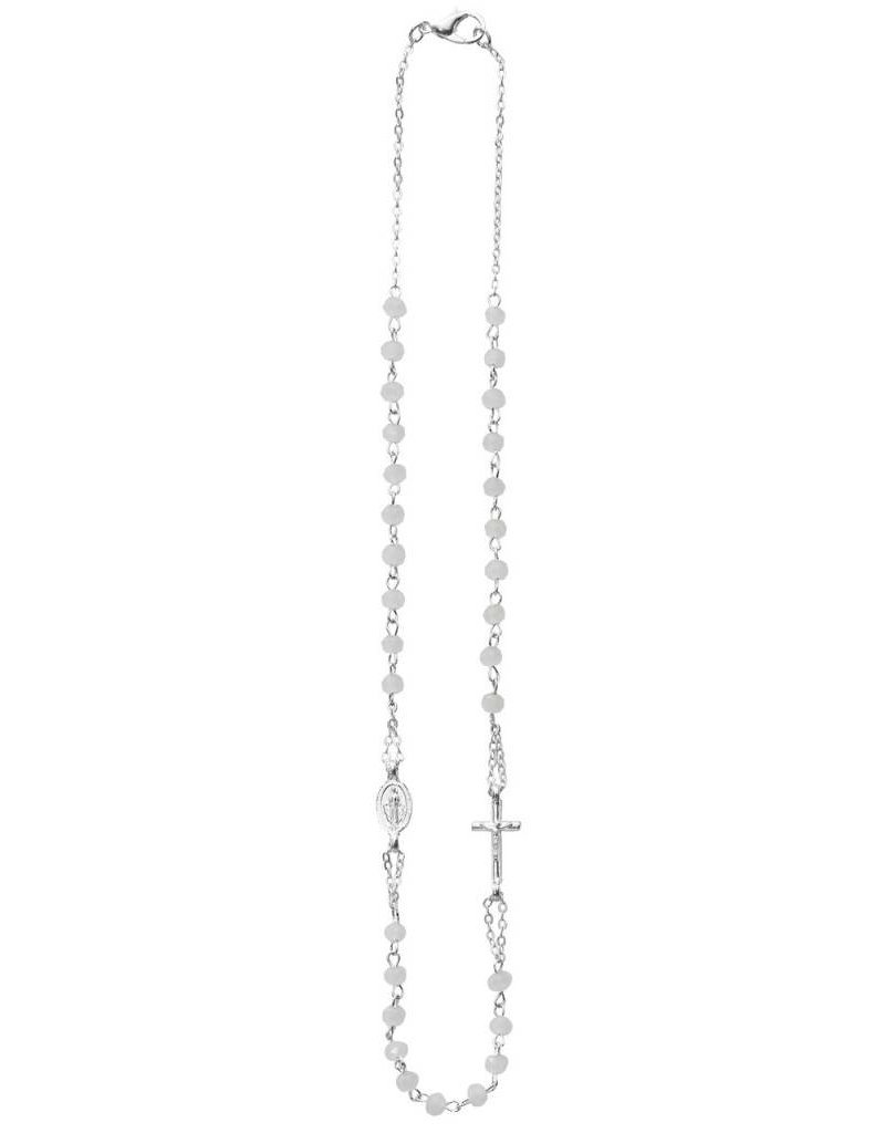 """McVan 16"""" White Pearl Necklace with Curcifix and Miraculous Medal Pendants"""