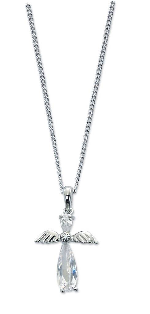 "McVan Cubic Zirconia Crystal Angel Pendant on 16""-18"" Adjustable Chain"