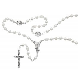 McVan 5mm White Communion Rosary with Chalice and Eucharist Centerpiece