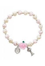 McVan Cream Colored Heart Pearls With Flower First Communion Stretch Bracelet with Miraculous Medal and Chalice Pendants