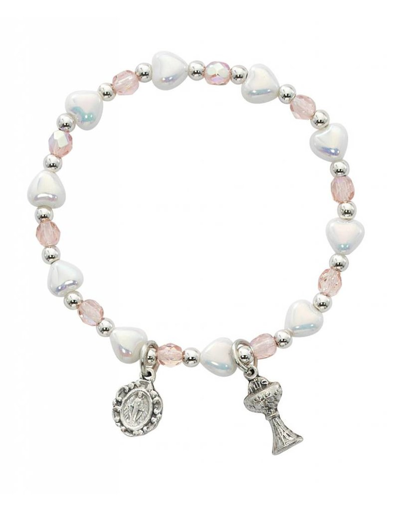 McVan White Hearts and Pink With Flower First Communion Stretch Bracelet with Miraculous Medal and Chalice Pendants