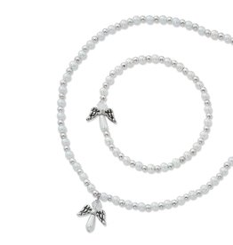"McVan 16"" White Pearl Angel Necklace and Bracelet Set"