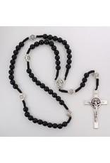 McVan Black Wood Cord St. Benedict Rosary