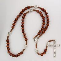 McVan Brown Wood Cord St. Pio Rosary