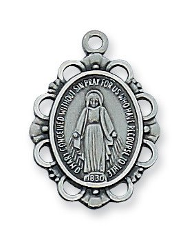 "McVan Antique Silver Pewter Miraculous Medal with 18"" Chain"