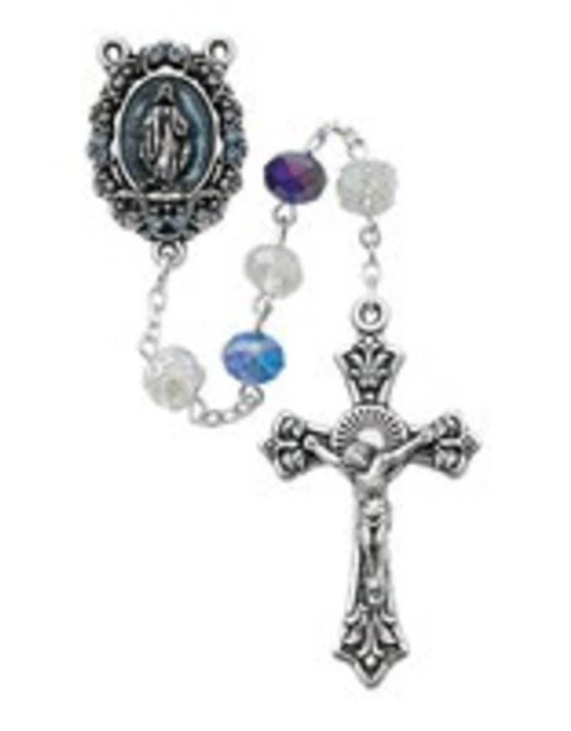 McVan Multi Blue Crystal Rosary with Blue and Enamel Stone Center