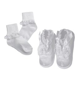 Lauren Madison Girl's Baptism Socks and Shoes Set
