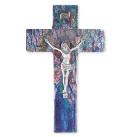 "WJ Hirten 10"" Sapphire Blue Glass Crucifix with Pewter Corpus"