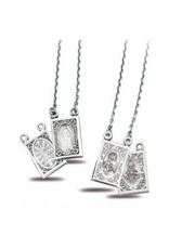 HMH Religious Sterling Silver Double Sided Brown Scapular and Miraculous Medals
