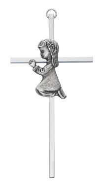 "McVan 6"" Silver Girl Praying Cross"
