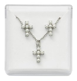 "McVan First Communion Pearl Cross and Earrings Set (16"" Rhodium Chain)"