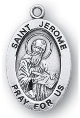 "HMH Religious Saint Jerome Sterling Silver Medal with 20"" Rhodium Plated Chain Necklace"