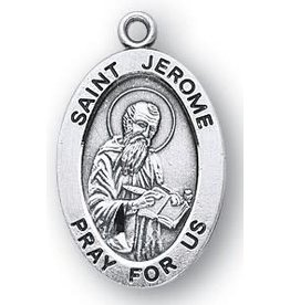 """HMH Religious Saint Jerome Sterling Silver Medal with 20"""" Rhodium Plated Chain Necklace"""