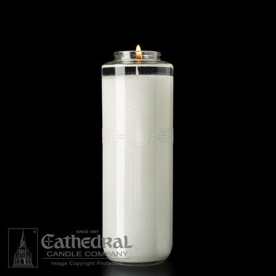 Cathedral Candle Co. 8 Day SacraLite Glass Sanctuary Light (Not Beeswax, Bottle Style, Box of 12)