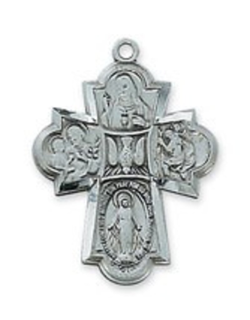 "McVan Antique Silver 4-Way Medal with 24"" Chain Necklace, St. Joseph, Miraculous Medal, St. Christopher, Sacred Heart, Scapular"