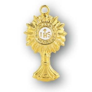 "HMH Religious 1"" Gold Over Sterling Silver Monstrance Pendant"