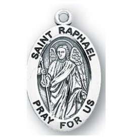 """HMH Religious Sterling Silver St. Raphael Archangel Medal With 20"""" Chain Necklace"""