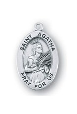 """HMH Religious Sterling Silver St. Agatha With 18"""" Chain Necklace"""
