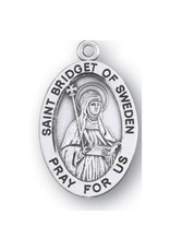 HMH Religious Saint Bridget of Sweden Oval Sterling Silver Medal