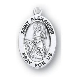 """HMH Religious St. Alexander Oval Sterling Silver Medal with 20"""" Rhodium Plated Chain"""