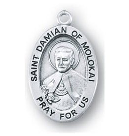 HMH Religious Saint Damien of Molokai Oval Sterling Silver Medal