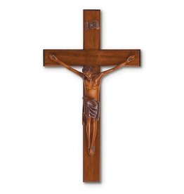 "HJ Sherman 10"" Mahogany Resin Crucifix"
