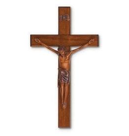 "HJ Sherman 10"" Mahogany Resin Crucifix"