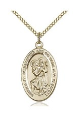 "Bliss Manufacturing Gold Filled St. Christopher Medal with 18"" Chain Necklace"